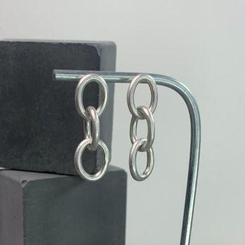 Stud Earrings - Chain Drop