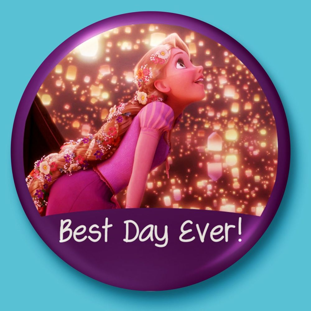 best day ever disney s tangled inspired badge button pin