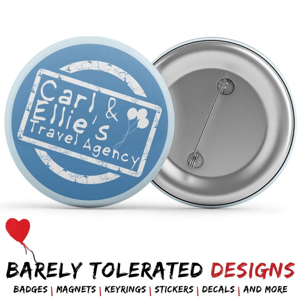 Carl & Ellie's Travel Agency, Badge/Button/Pin, Magnet or Keyring