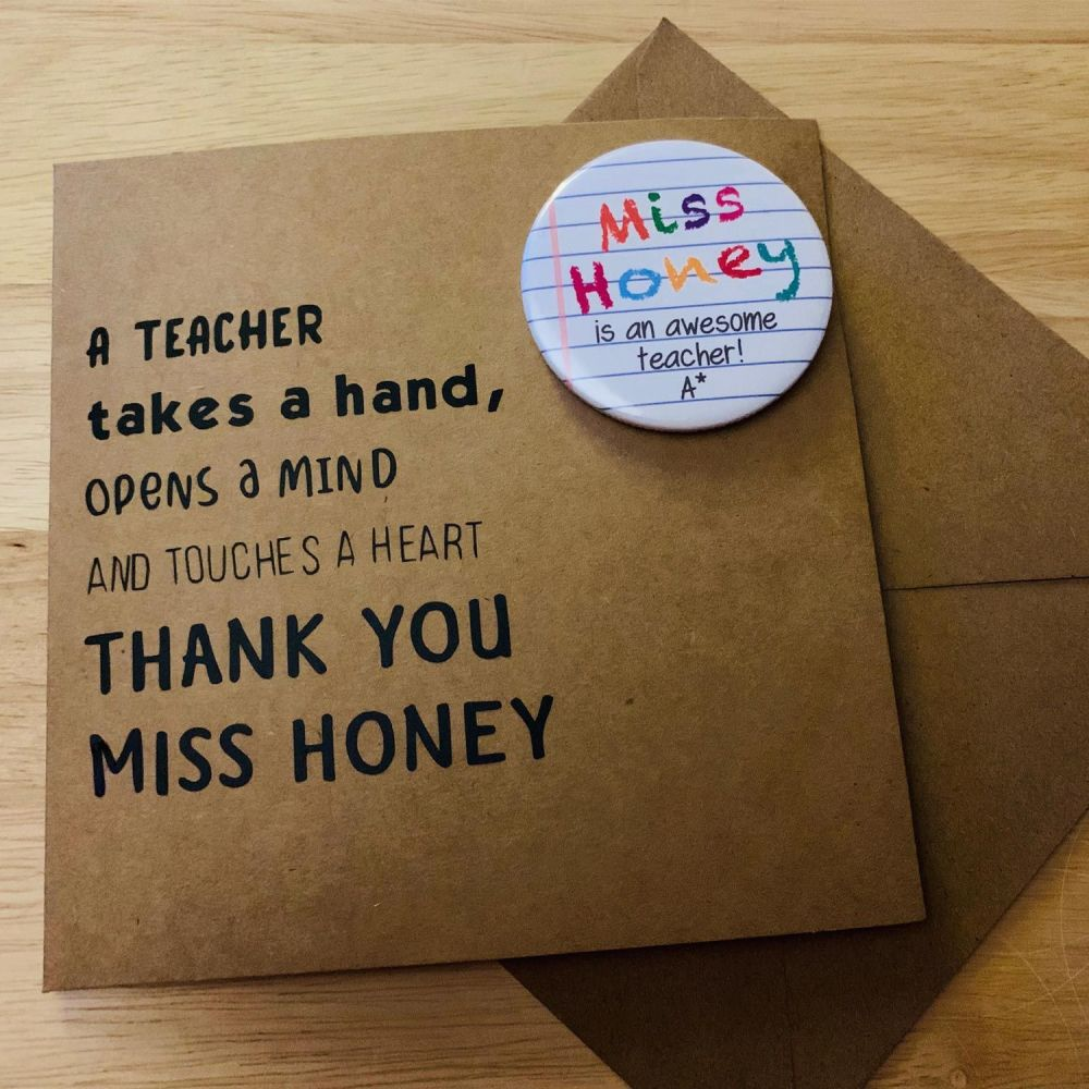 Personalised Thank You Teachers Card and Badge