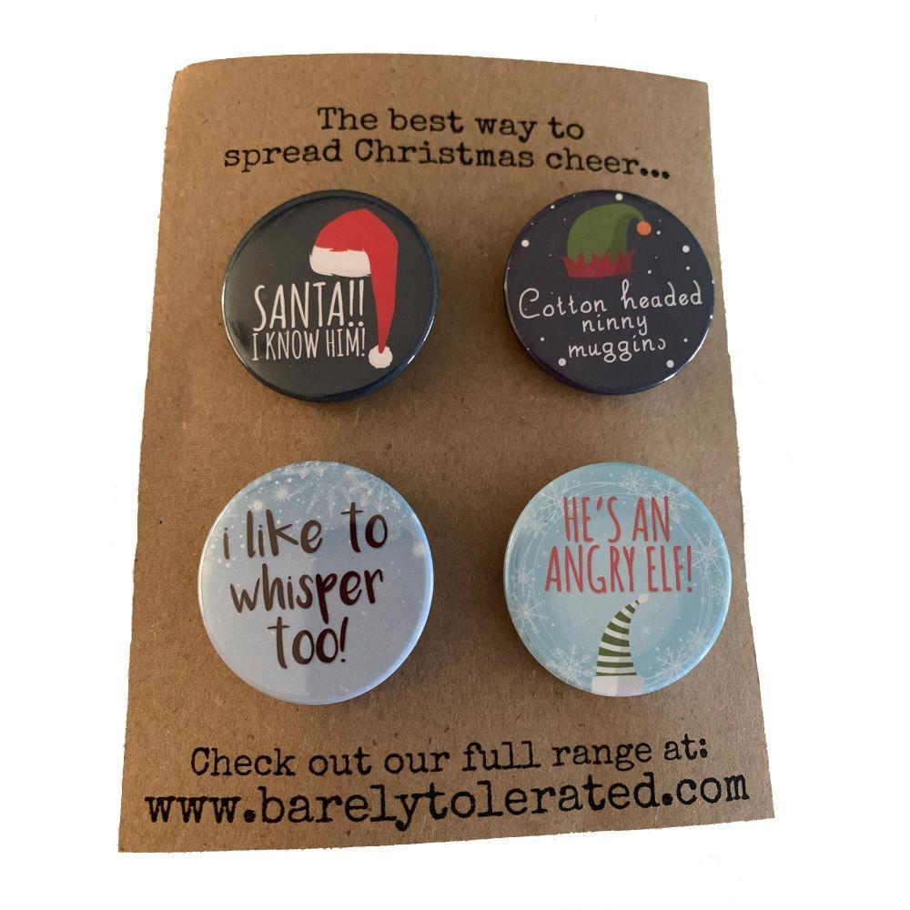 Set of 4 Elf Inspired Badges