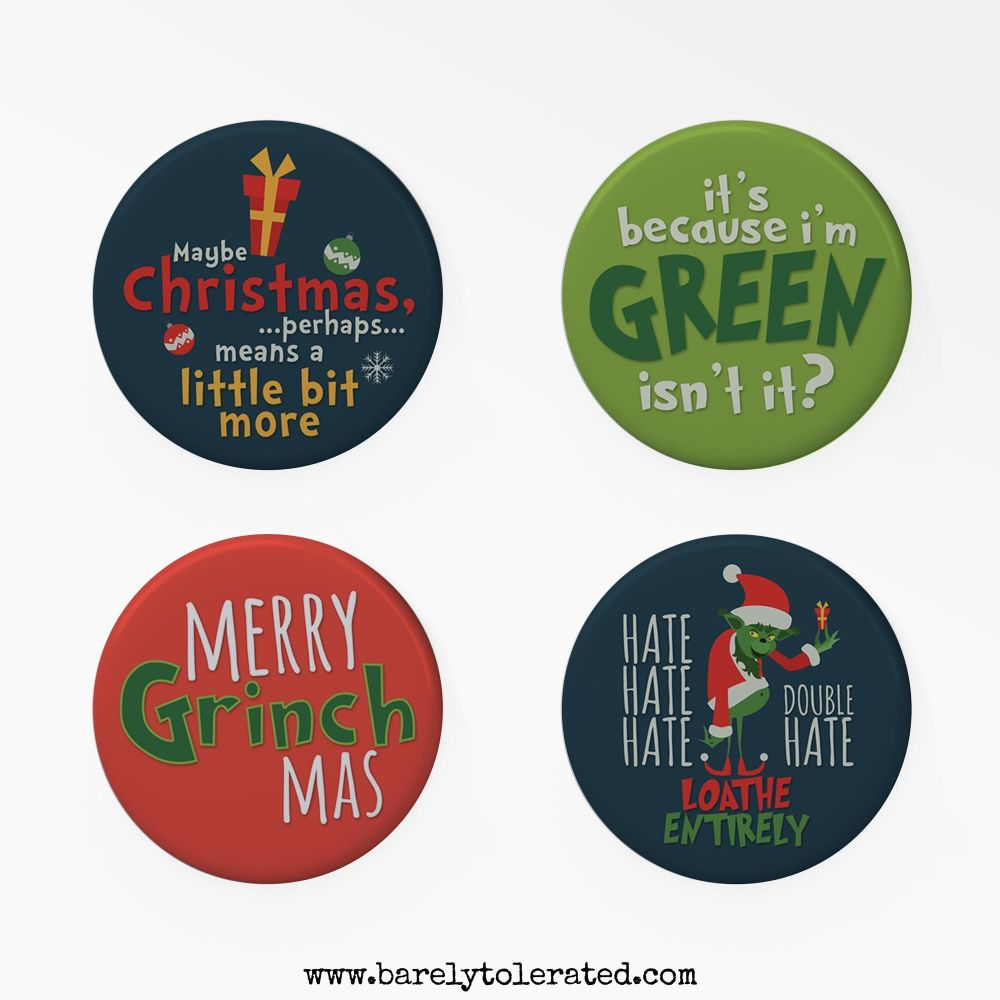 Set of 4 Grinch Inspired Badges