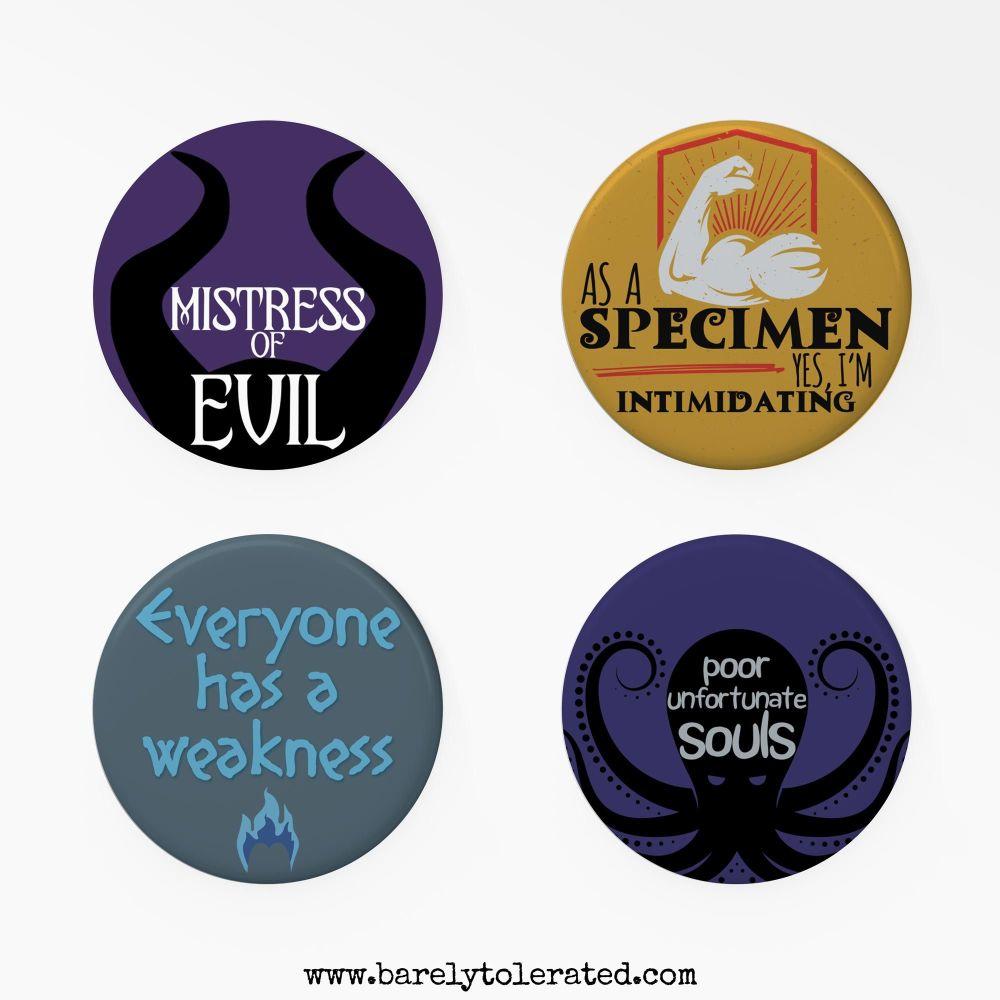 Set of 4 Villain Inspired Badges