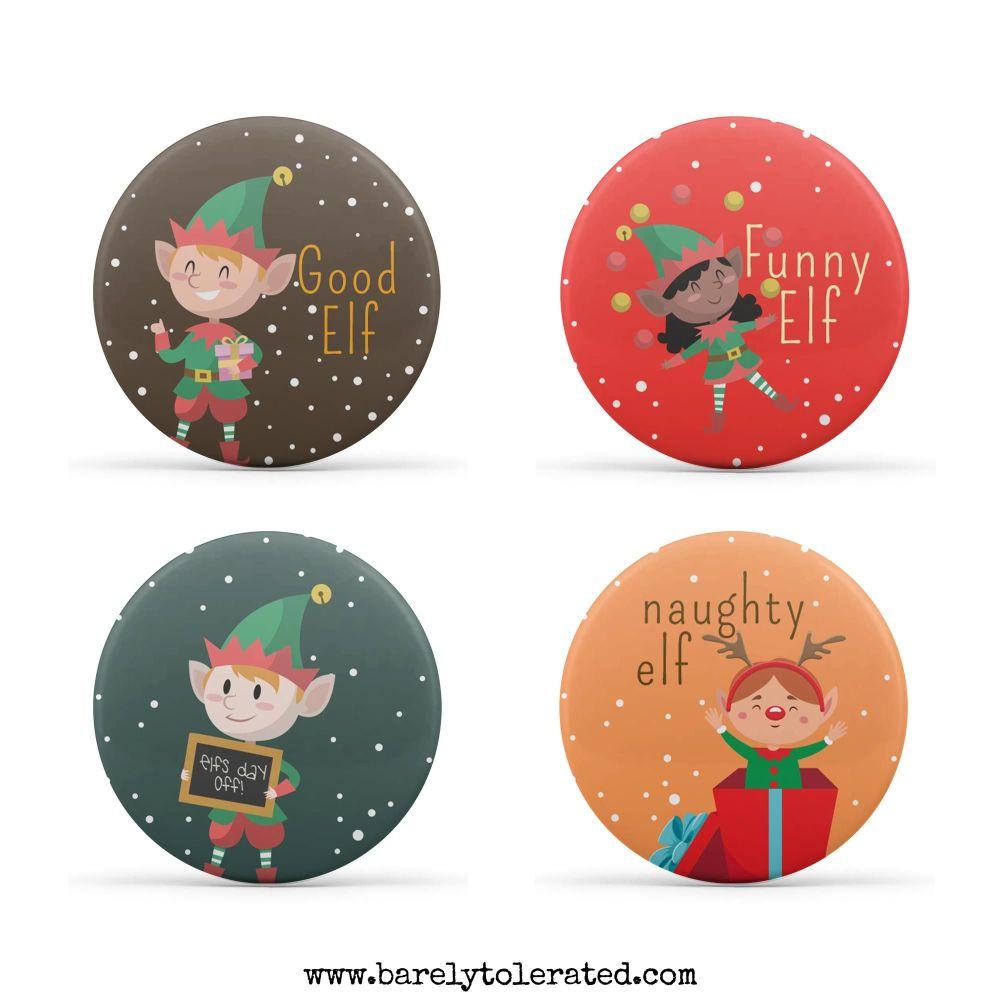 Elf on a Shelf Set of 4 38mm Badges