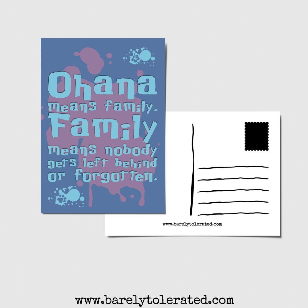 Ohana Means Family Postcard