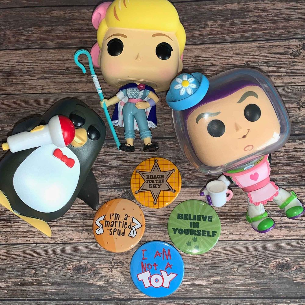 Toy Box Style Set of 4 38mm Badges