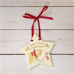 DISNEY BABY'S FIRST CHRISTMAS HANGING DECORATION - POOH PRODUCT CODE: XM6103