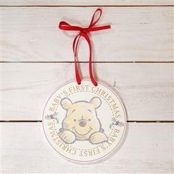 DISNEY BABY'S FIRST CHRISTMAS HANGING PLAQUE - POOH PRODUCT CODE: XM6109