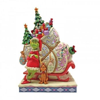 Grinch Standing infront of Sleigh - The Grinch by Jim Shore 6008884