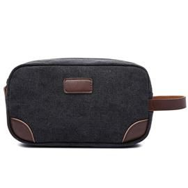 MAD MAN BLACK CANVAS AND LEATHER WASH BAG PRODUCT CODE: HM2187