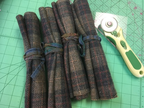 Upcycled vintage tweed for trousers or coat - green tartan