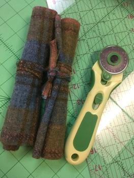 Upcycled vintage tweed for waistcoat - green tartan with pink