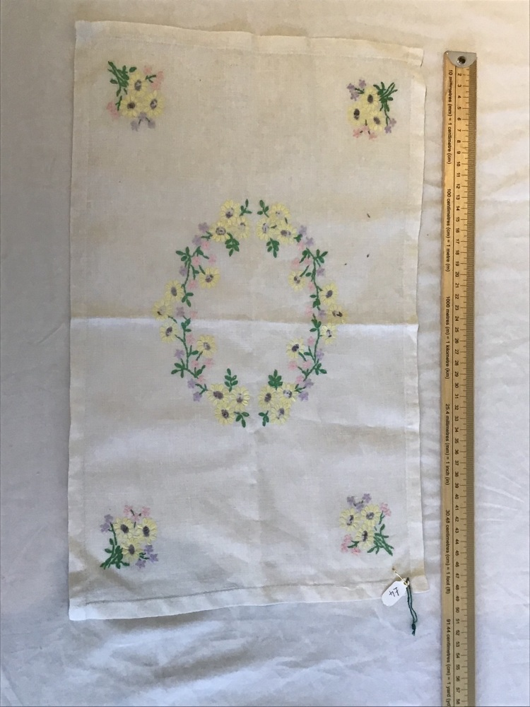 Vintage Linens - embroidered tray cloth 9