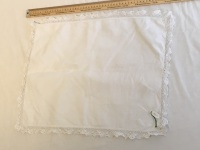 Lace edged rectangular tray cloth