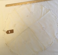 Lace edged oval tray cloth