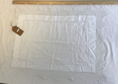 Deep Lace edged rectangular tray cloth