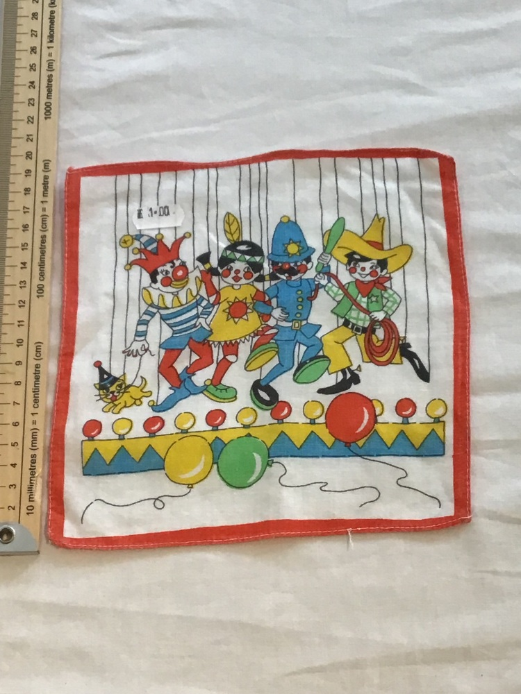 Printed child's hankie - clowns 1