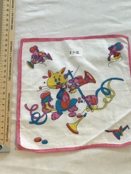 Printed child's hankie - musical cats