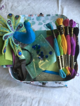Small Bird Suitcase - Two Peacocks - feather design suitcase