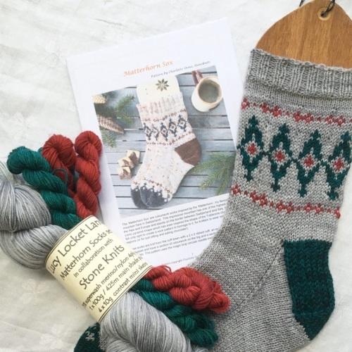 1. Matterhorn Socks - Silver, Cranberry and Jade