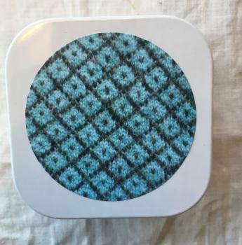 1. Knitting supplies Tin - Turquoise Trellis