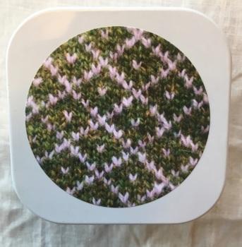 1. Knitting supplies Tin - Green Trellis