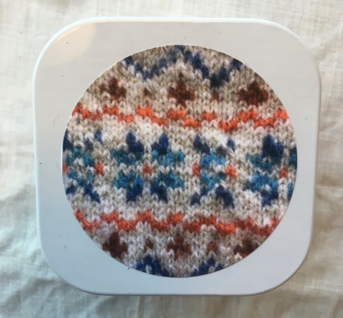 1. Knitting supplies Tin - Fair Isle stars