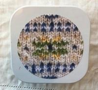1. Knitting supplies Tin - Fair Isle Star - Green