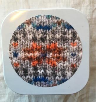 1. Knitting supplies Tin - Fair Isle Star  Orange