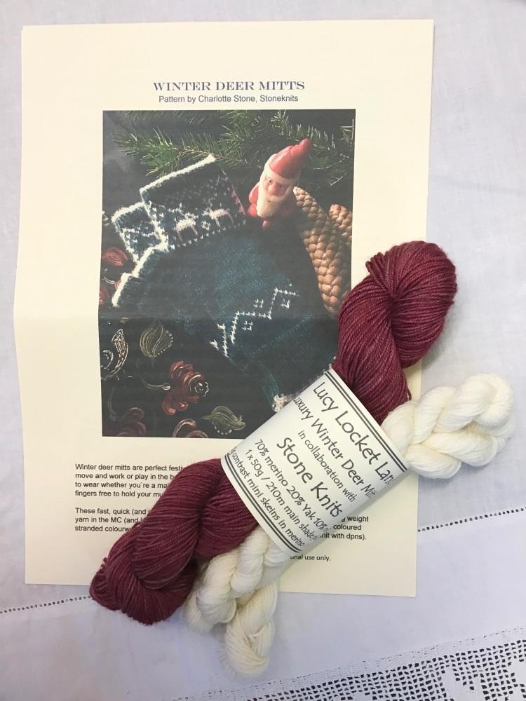 1. Luxury Winter Deer Mitts  in Berry with scrummy Yak blend yarn