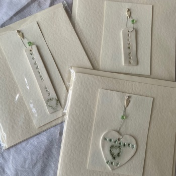 Aly Hall handmade cards with detachable porcelain charm