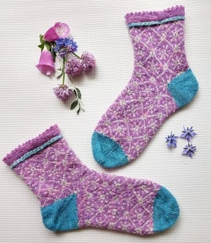 Brilliant Liz Socks - Lilac, Silver Grey and Turquoise