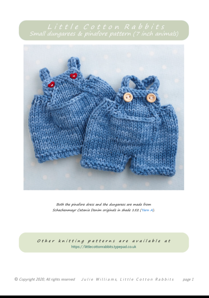 *New*  Small Dungarees and Pinafore Pattern booklet for baby bunn