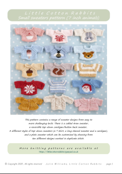 *New*  Small Sweaters Collection Pattern booklet for baby bunnies