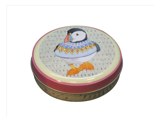 Woolly Puffin round tin