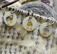 """Woolly Puffins""  Stitch markers"