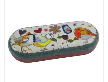 Stitched Birdies Glasses Case - or special goodies tin!