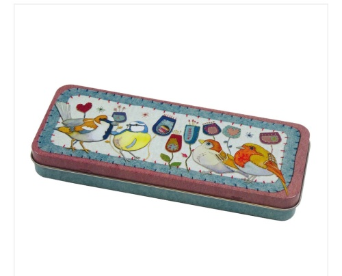 Stitched Birdies Pencil Tin
