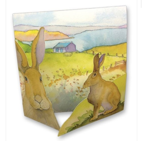 Hares 3D Greetings Card
