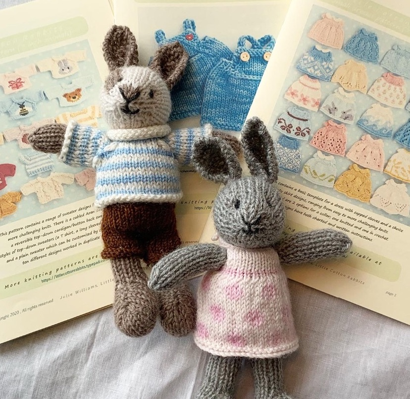 "Little 7"" bunnies and clothing"
