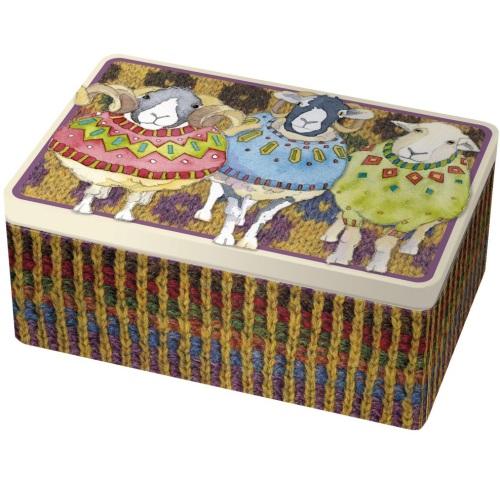 Woolly Sheep in Sweaters rectangular tin