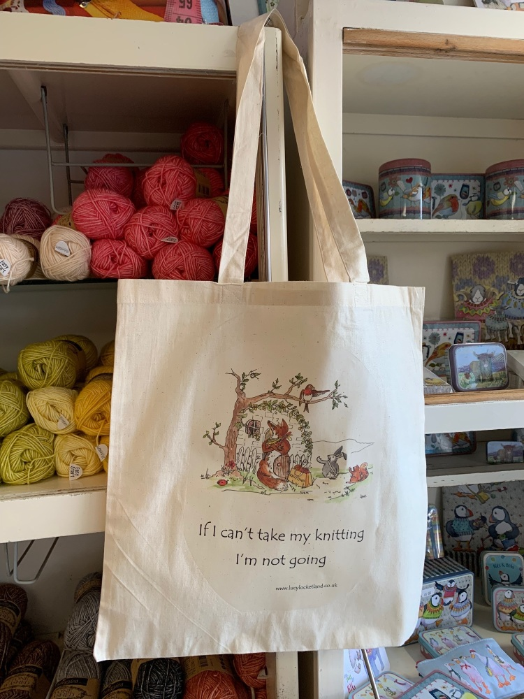"Foxy Tote bag  ""If I can't take my knitting I'm not going"" #2"