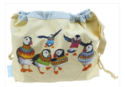 Woolly Puffin drawstring Project bag