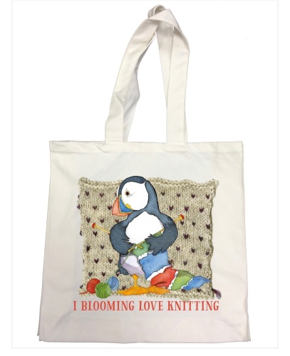 I Blooming Love Knitting Puffin Tote Bag