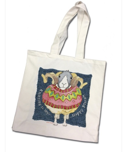*PRE ORDER* Knitting is my happy place Sheep Tote Bag