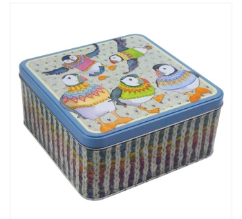 Woolly Puffins cake/biscuit tin