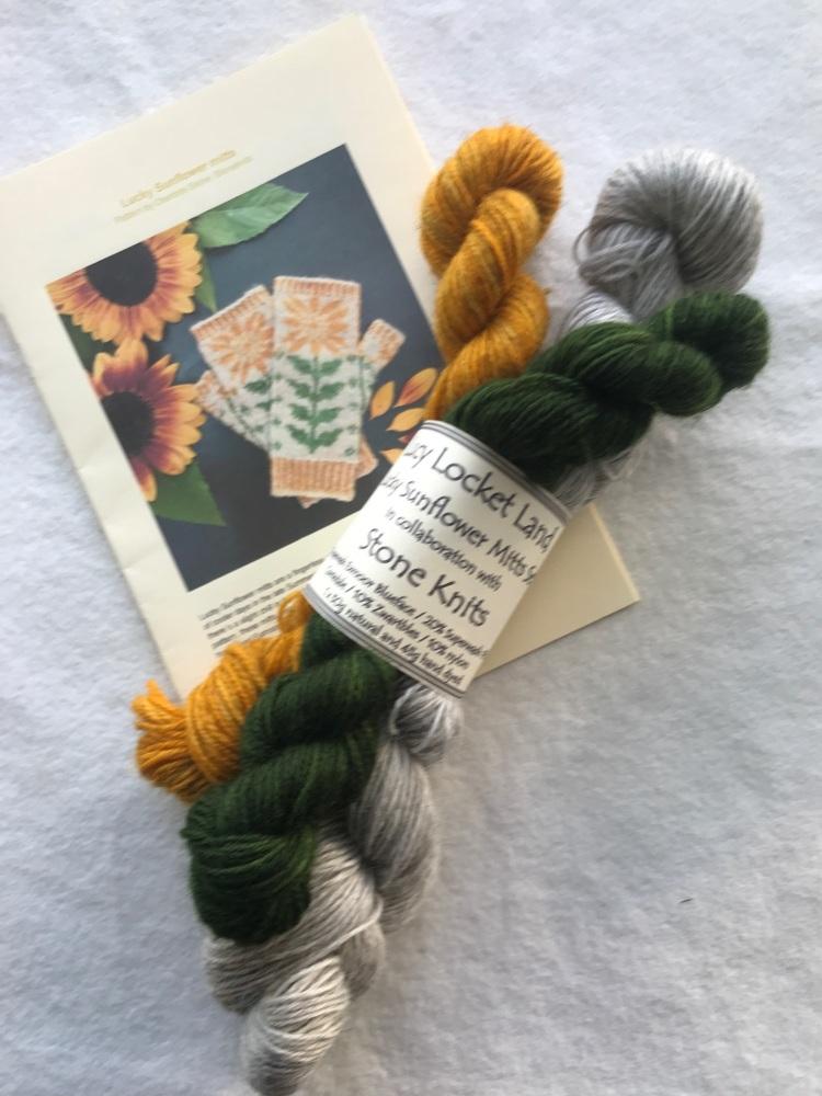 ORANGE Lucky Sunflower Mitts Kit in gorgeous Exmoor Sock Yarn
