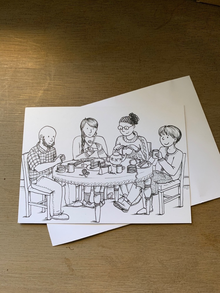 Colour-in Crafters Postcard - Knit
