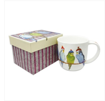 Budgies in Beanies Bone China Mug (boxed)