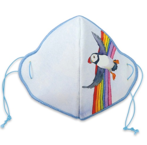 Rainbow Puffin Face Mask